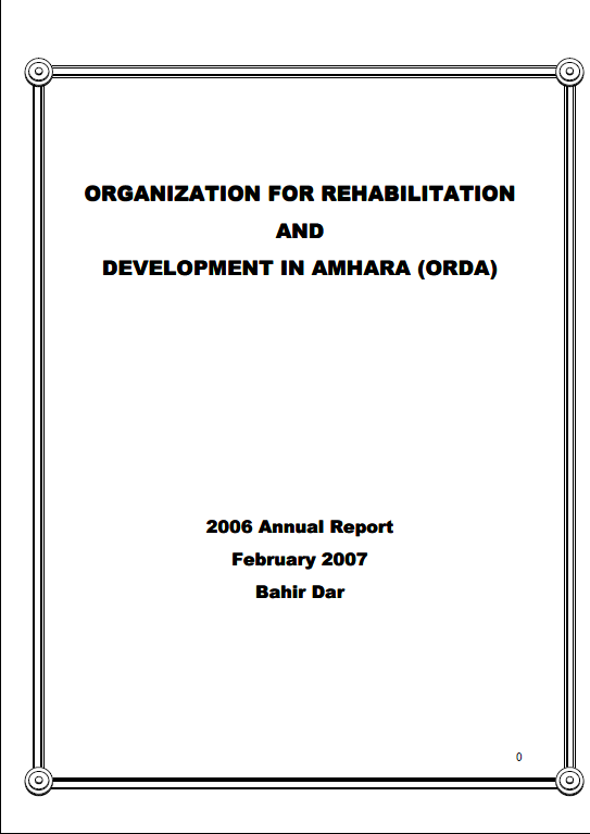 2006 Orda anuual report cover